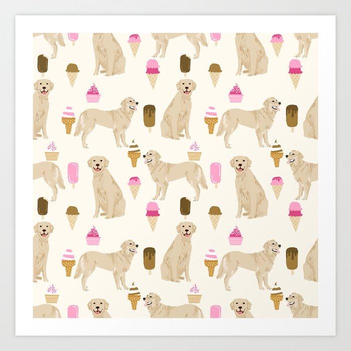 5e2e19acfab1 Golden Retriever dog breed pet portrait ice cream custom pet illustration by  pet friendly Art Print