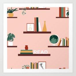 Floating Books on Shelves Art Print