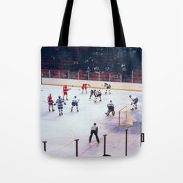Vintage Ice Hockey Match Tote Bag