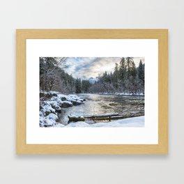 Morning on the McKenzie River Between Snowfalls Framed Art Print