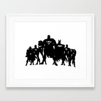 justice league Framed Art Prints featuring Justice League Silhouette by iankingart