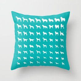 All Dogs (Aqua) Throw Pillow