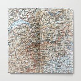 Where Italy, France & Switzerland meet, 1900 map Metal Print