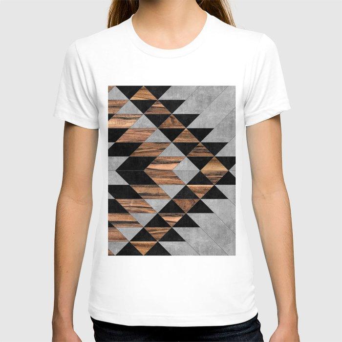 Urban Tribal Pattern No.10 - Aztec - Concrete and Wood T-shirt