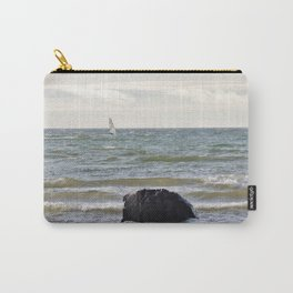 Windsurfer and black stone at gray sea Carry-All Pouch