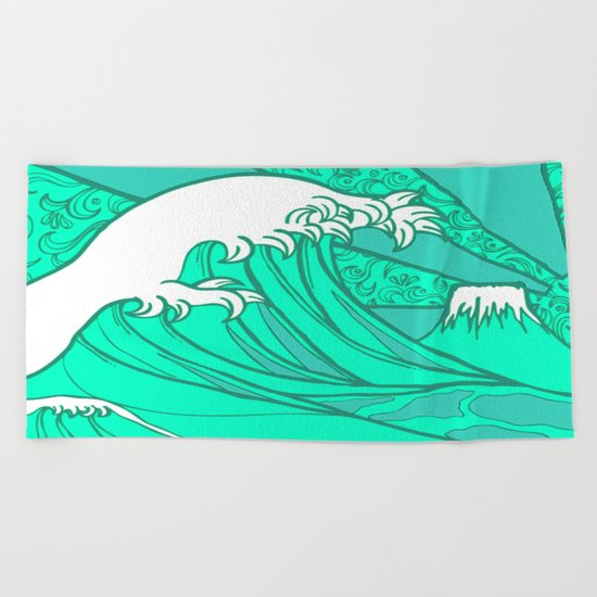 FRESH WAVE AND MOUNTAIN Beach Towel