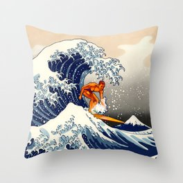 Great Wave Surfer Throw Pillow