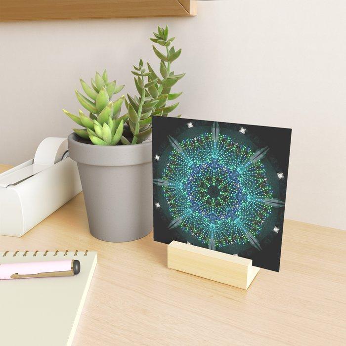 Kaleidoscope fantasy on lighted peacock shape Mini Art Print