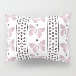 Delicate butterfly on a white background with delicate stripes. Pillow Sham