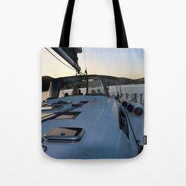 Beneteau Boat deck sunset Tote Bag