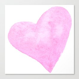 Light Pink Watercolor Heart Canvas Print