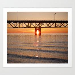The Mackinac Bridge and the sun in between Art Print