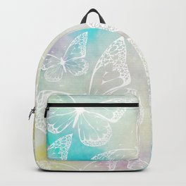 Pastel colored butterfly pattern, girly trend vintage design Backpack