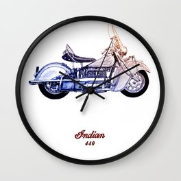 1940 Indian 440 Motorcycle Drawing Wall Clock