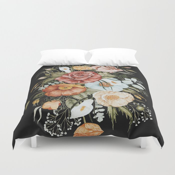 Roses and Poppies Bouquet on Charcoal Black Duvet Cover