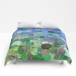 Abstract blue & green glamour glitter circles and polka dots for ladies Comforters
