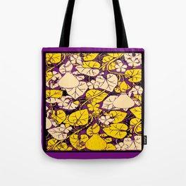 Grape Purple & Cream Garden Vines Yellow Design Tote Bag