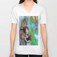 oz V-neck T-shirts featuring  oz by AliluLera