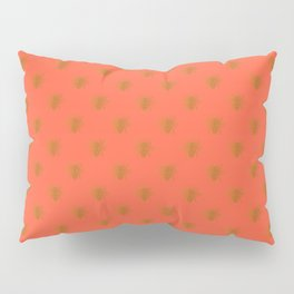 Golden Bees in Faux Metallic Photo Effect Shiny Gold Foil on Coral Pillow Sham