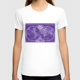 World Map (1691) Purple & White T-shirt