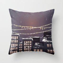 Snowy Night in the City - Manhattan New York City Winter Skyline Throw Pillow