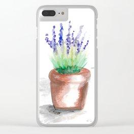 Watercolour lavender flowerpot Clear iPhone Case