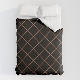 Sherwin Williams Cavern Clay SW7701 Thin Line Stripe Grid on Black Comforters