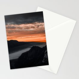 HIGH ANGLE PHOTOGRAPHY OF MOUNTAIN RANGE UNDER NIMBUS CLOUDS Stationery Cards