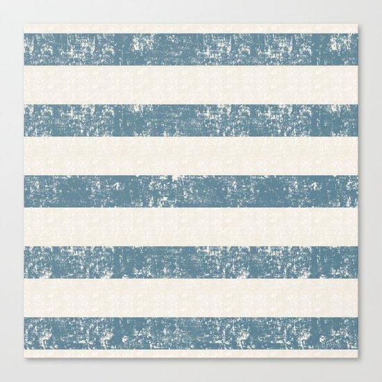 Maritime Beach Pattern- Blue and White Stripes- Horizontal- Canvas Print