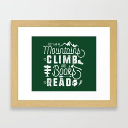 Moutnains & Books - Inverse Framed Art Print