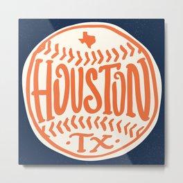 Hand Drawn Baseball for Houston Texas with custom Lettering Metal Print