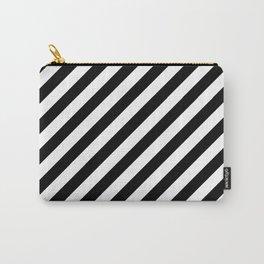 Diagonal Stripes (Black/White) Carry-All Pouch