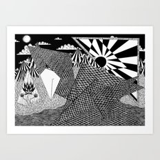 Bird Crossing over the full moon Art Print