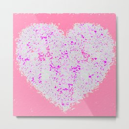 pink and white heart shape with pink background Metal Print