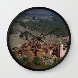 Village Among Hills Wall Clock