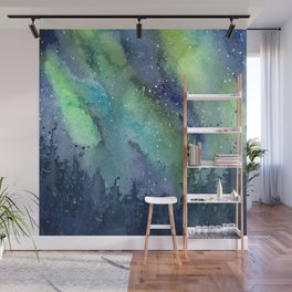 Galaxy Aurora Northern Lights Nebula Space Watercolor Wall Mural