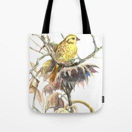 Yellowhammer and Sunflower, bird design, light brown yellow room art Tote Bag
