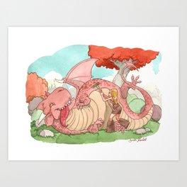 Gratte Dragon Art Print