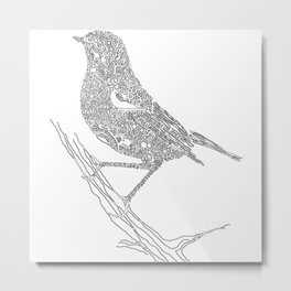 Black and White Bird on A Branch Metal Print
