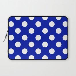 Zaffre - blue - White Polka Dots - Pois Pattern Laptop Sleeve