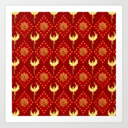 Gold Phoenix and lotus symbol pattern on red Art Print