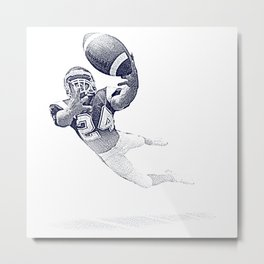 Football receiver making a fantastic catch. Metal Print