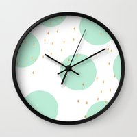 gold dots Wall Clocks featuring Mint and gold dots by Allyson Johnson