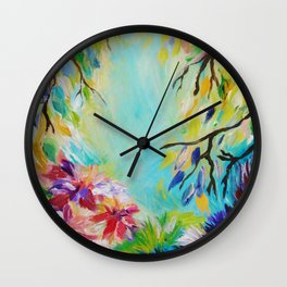 BLISS - Stunning Bold Colorful Idyllic Dream Floral Nature Landscape Secret Garden Acrylic Painting Wall Clock