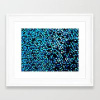 pixel art Framed Art Prints featuring Turquoise Blue Aqua Black Pixels by 2sweet4words Designs