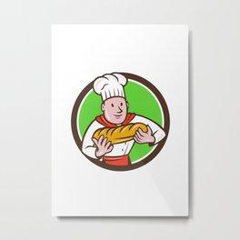 Baker Holding Bread Loaf Circle Cartoon Metal Print