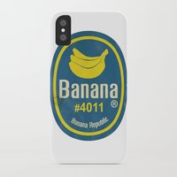 sticker iPhone & iPod Cases featuring Banana Sticker On White by Karolis Butenas