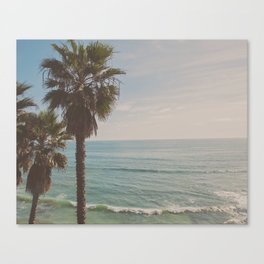 palm tree and ocean. California Vacation Canvas Print