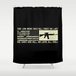 M4 Assault Rifle & Tactical Flag Shower Curtain