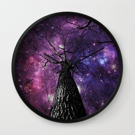 Wintry Trees Deep Purple Galaxy Skies Wall Clock